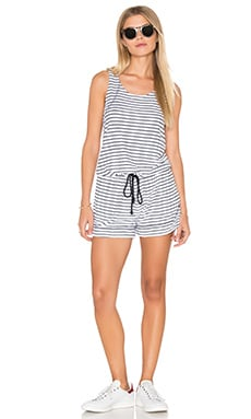 Playa Stripe Tank Romper in White