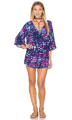 Michael Stars City Lights 3/4 Sleeve Romper in Bougainvillea