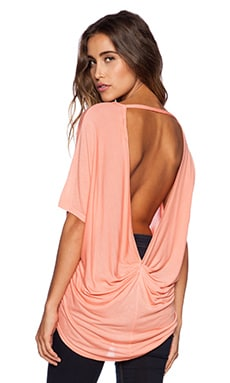 Michael Stars Hi-Low Drape Back Tee in Coral Blush