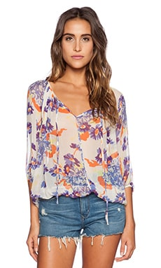 Michael Stars 3/4 Sleeve Peasant Top in Ivory Floral