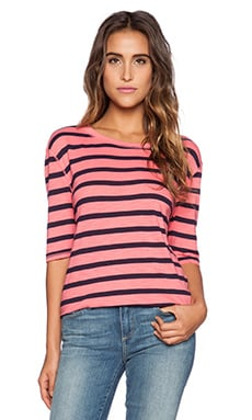 Michael Stars Striped Crew Neck Tee in Passion Fruit