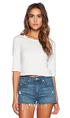 Michael Stars 3/4 Sleeve Crop Top in White