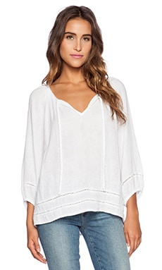 3/4 Sleeve Boho Top in White