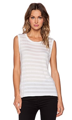 Michael Stars Back Slit Muscle Tank in White