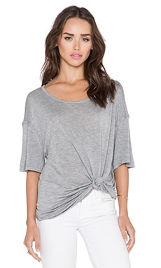 Michael Stars Boatneck Side Tie Tee in Heather Grey