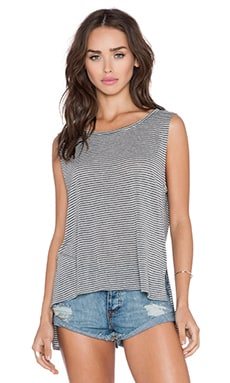 Michael Stars Hi Low Split Back Tank in Heather Grey