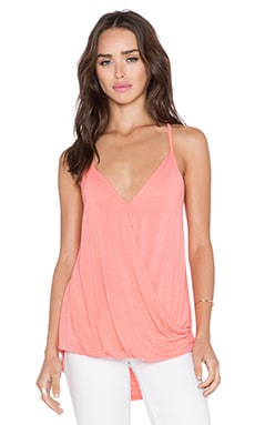 Michael Stars Surplice Cross Back Cami in Coral Sun