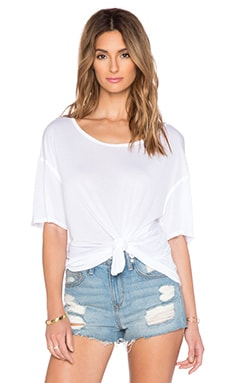 Michael Stars Boatneck Side Tie Tee in White