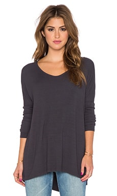 Michael Stars Side Slit High Low Tee in Oxide