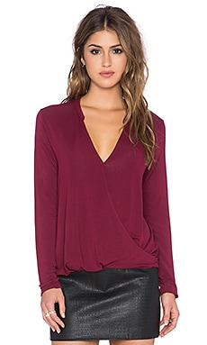 Michael Stars Long Sleeve Surplice Top in Velvet