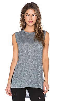 Michael Stars Sleeveless Side Slit Tank in Charcoal