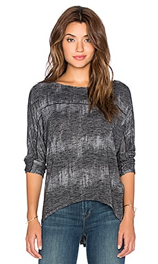 Michael Stars 3/4 Sleeve Wide Neck Dolman Tee in Charcoal