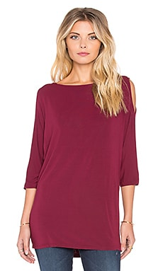Michael Stars 3/4 Sleeve Cold Shoulder Tunic in Velvet