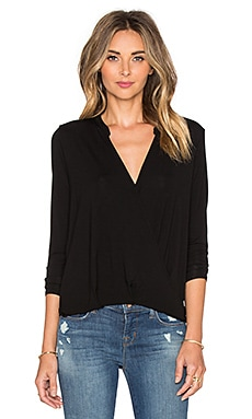 Michael Stars Long Sleeve Surplice Top in Black