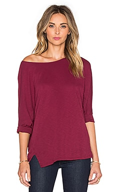 Michael Stars 3/4 Sleeve Wide Neck Dolman Tee in Velvet