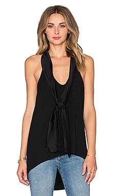 Michael Stars Tied Sleeveless Halter in Black