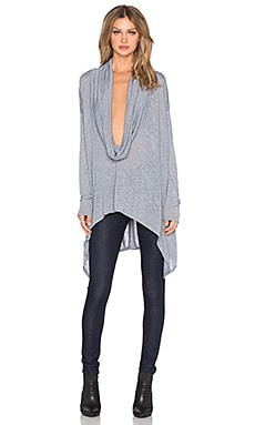 Michael Stars Long Sleeve Cowl Neck Poncho with Asymmetrical Hem in Cinder
