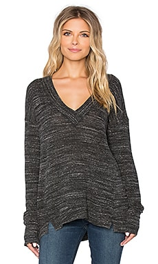 Michael Stars Long Sleeve Deep V Neck Top in Black