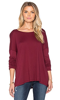 Michael Stars Long Sleeve Drop Shoulder Raglan Top in Pinot