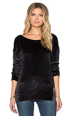 Michael Stars Long Sleeve Open Crew Neck Pull Over With Zip Detail in Oxide