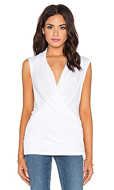 Michael Stars Sleeveless Draped Front Top in White