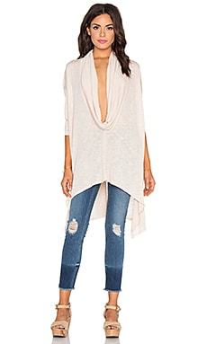 Michael Stars Long Sleeve Cowl Neck Asymmetrical Hem Poncho in Chantilly