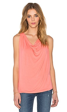 Draped Halter Tank in Coral Sun