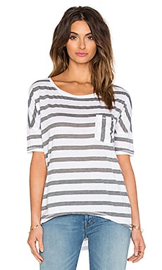 Michael Stars Silver Lake Stripe Scoop Neck Hi Low Top in White