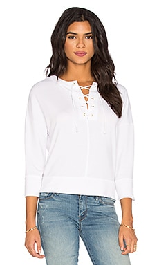 Michael Stars Lace Up Top in White