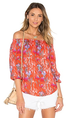 Michael Stars Smocked Off The Shoulder Top in Tomato