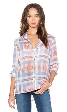 Yarn Dye Plaid Button Down Top in Bikini & Cove