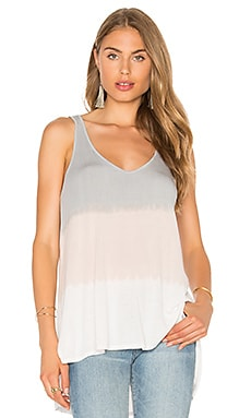 Michael Stars Sunset Wash Hi Low V Neck Tank in Oyster