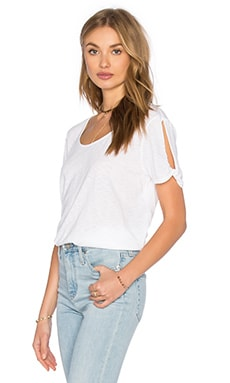 Cotton Supima Slub Twisted Slit Sleeve Tee in White
