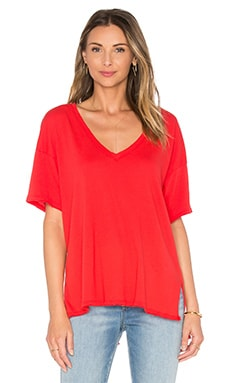V Neck Hi-Low Perfect Jersey Tee in Tomato