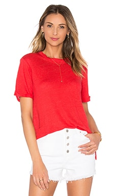 Short Sleeve Crew Neck Tee with Side Slits in Tomato
