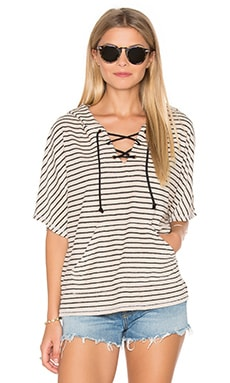 Playa Stripe Lace Up Baja Top en Piedra