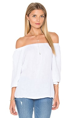 Double Gauze Off Shoulder Top en Blanc