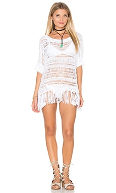 Tape Yarn Boxy Fringe Blouse in Ivory