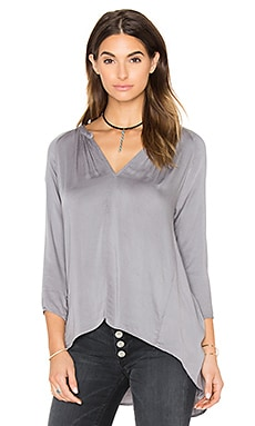 Michael Stars Long Sleeve Hi Low Crossback Top in Galvanized