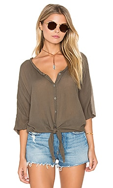 Gauze Mix Button Tie Front Top in Caper