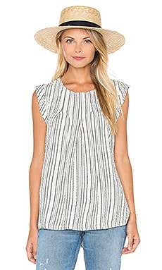 Michael Stars Seersucker Crew Neck Pleated Top in Whtie