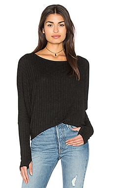 Boatneck Thumbhole Top en Noir
