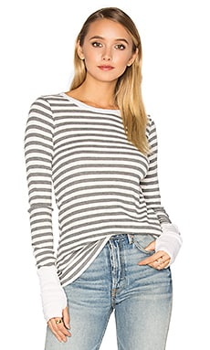 Striped Thermal Long Sleeve with Thumbholes in Chalk