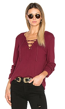 Long Sleeve Tie Neck Top in Pinot