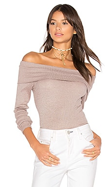 Shine Off Shoulder Top in Shale