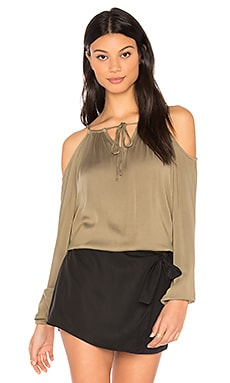 Cold Shoulder Top in Olive Moss