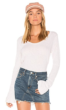 Soft V Neck Bell Sleeve Top