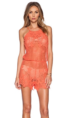 Miguelina Cicely Romper in Papaya