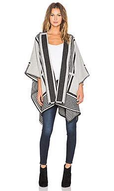 MiH Jeans Blanket Wrap Poncho in Cream Stripe