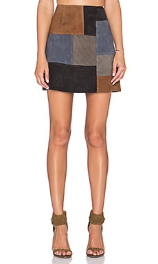 MiH Jeans Patchwork Mini Skirt in Muti